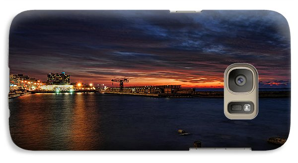 Galaxy Case featuring the photograph a flaming sunset at Tel Aviv port by Ron Shoshani