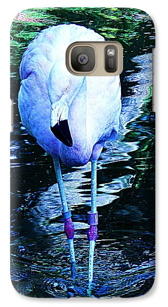 Galaxy Case featuring the photograph A Flamingo On A Watery Stroll. by John King