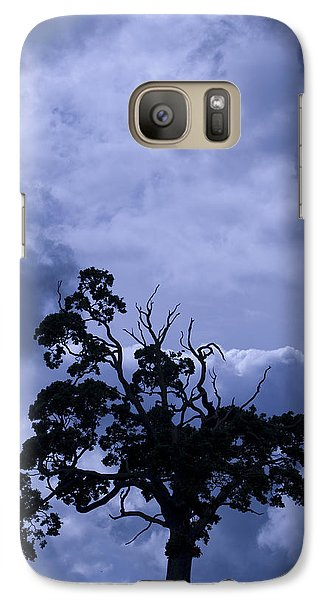 Galaxy Case featuring the photograph A Flash Of Blue Tree by Sally Ross