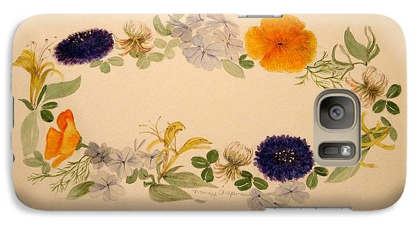 Galaxy Case featuring the painting A Flower Circle by Nancy Kane Chapman