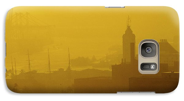 Galaxy Case featuring the photograph A Foggy Golden Sunset In Honolulu Harbor by Lehua Pekelo-Stearns