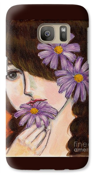 Galaxy Case featuring the painting A Girl With Daisies by Jingfen Hwu