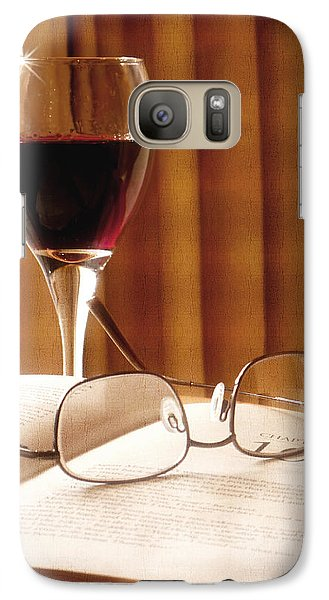 Galaxy Case featuring the photograph A Good Book And A Glass Of Wine by Lucinda Walter