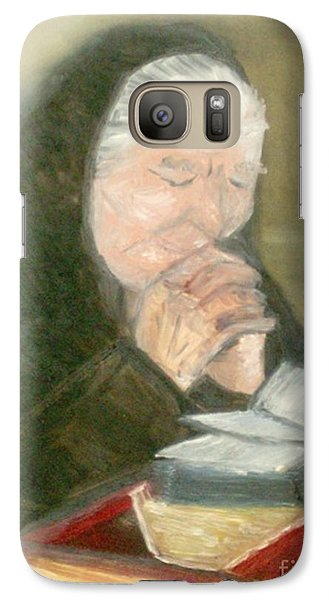 Galaxy Case featuring the painting A Grandmother's Prayer by Helena Bebirian