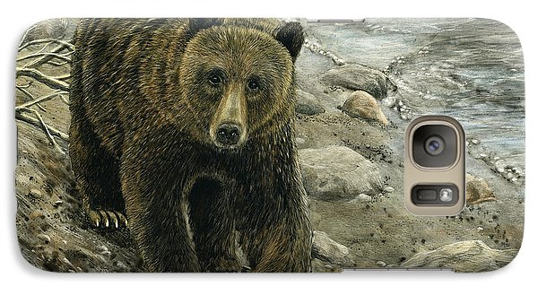 Galaxy Case featuring the drawing A Grey And Grizzly Day by Sandra LaFaut