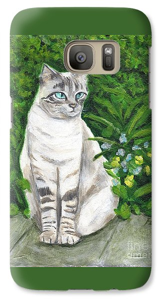 Galaxy Case featuring the painting A Grey Cat At A Garden by Jingfen Hwu