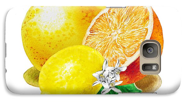Galaxy Case featuring the painting A Happy Citrus Bunch Grapefruit Lemon Orange by Irina Sztukowski