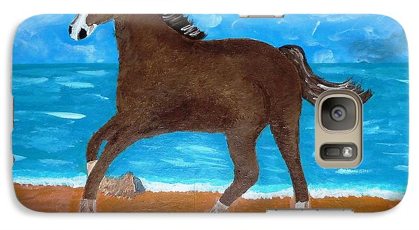 Galaxy Case featuring the painting A Horse On The Beach by Magdalena Frohnsdorff