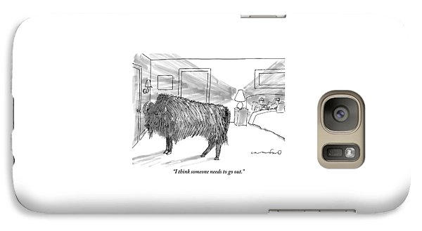 A Large Buffalo Stands Near The Door Galaxy S7 Case