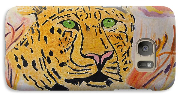 Galaxy Case featuring the painting A Leopard's Gaze by Meryl Goudey