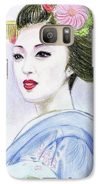 Galaxy Case featuring the drawing A Maiko  Girl by Yoshiko Mishina