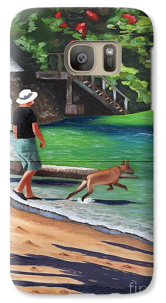 Galaxy Case featuring the painting A Man And His Dog by Laura Forde