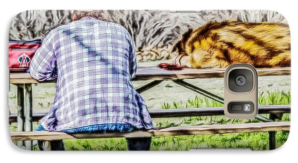 Galaxy Case featuring the digital art A Man And His Dog by Photographic Art by Russel Ray Photos