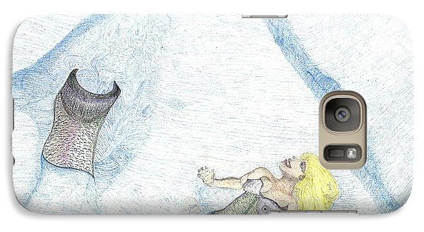 Galaxy Case featuring the drawing A Mermaids Moment by Kim Pate