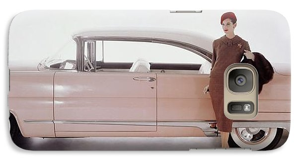 A Model Posing In Front Of A Vintage Car Galaxy S7 Case by Karen Radkai