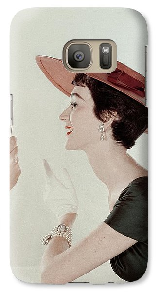A Model Wearing A Sun Hat And Dress Galaxy S7 Case by John Rawlings