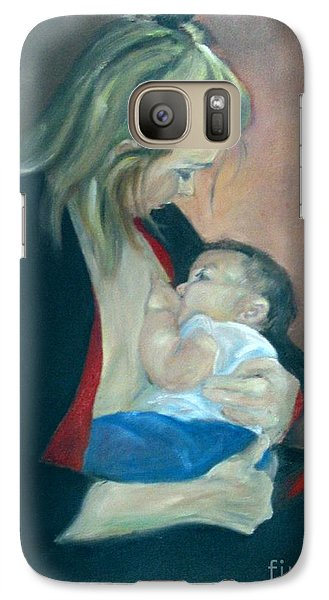 Galaxy Case featuring the painting A Mother's Love by Sally Simon