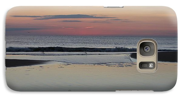 Galaxy Case featuring the photograph A One Seagull Sunrise by Robert Banach