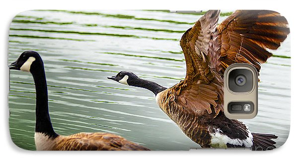 Galaxy Case featuring the photograph A Pair Of Canada Geese Landing On Rockland Lake by Jerry Cowart