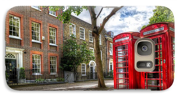 Galaxy Case featuring the photograph A Pair Of Red Phone Booths by Tim Stanley