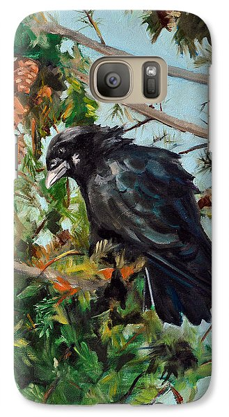 Galaxy Case featuring the painting A Perch For Nevermore by Pattie Wall