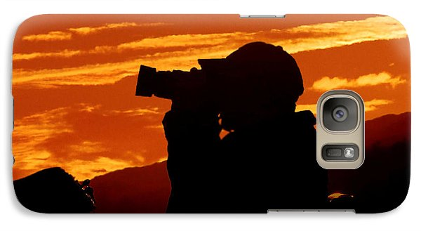 Galaxy Case featuring the photograph A Photographer Enjoying His Work by Kathy Baccari
