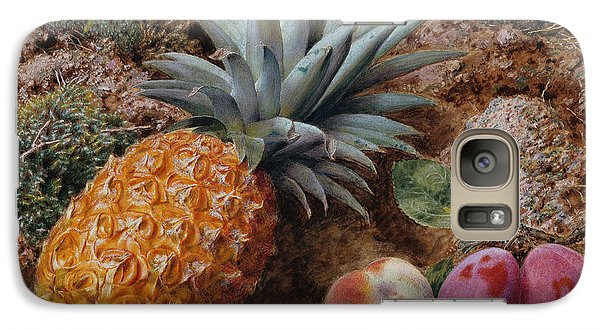 A Pineapple A Peach And Plums On A Mossy Bank Galaxy S7 Case by John Sherrin