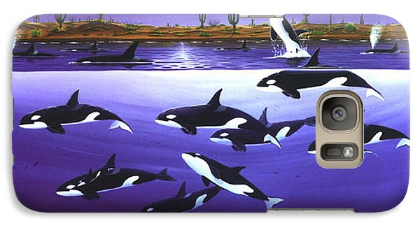 Galaxy Case featuring the painting A Pod Of Desert Orcas by Lance Headlee