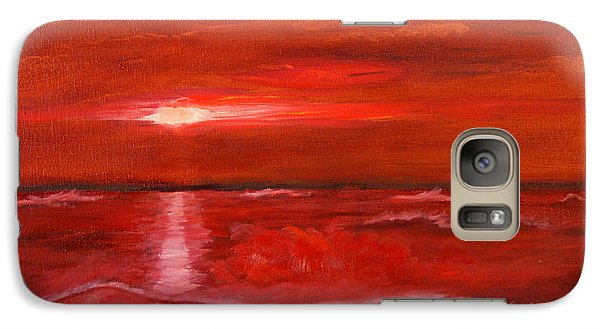 Galaxy Case featuring the painting A Red Sunset by J Cheyenne Howell