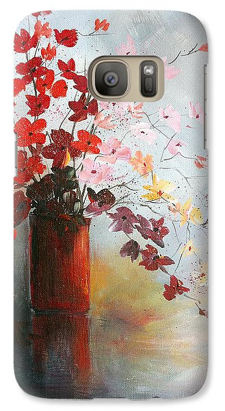 Galaxy Case featuring the painting A Red Vase by Dorothy Maier