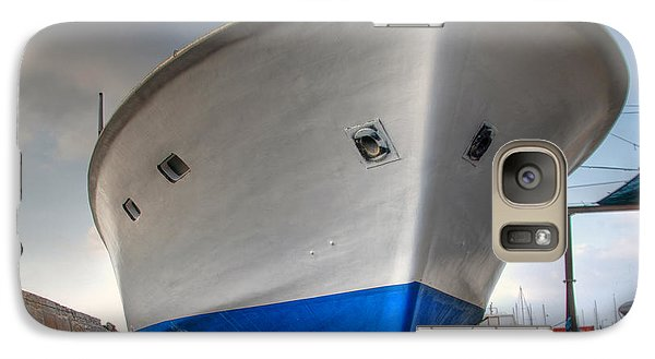 Galaxy Case featuring the photograph a resting boat in Jaffa port by Ron Shoshani