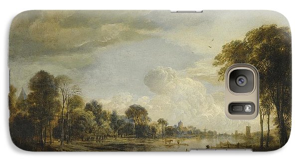 Galaxy Case featuring the painting A River Landscape With Figures And Cattle by Gianfranco Weiss