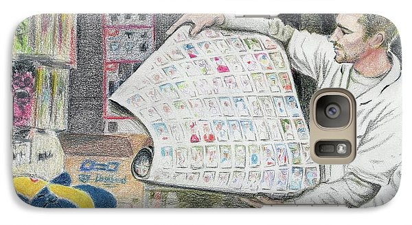 Galaxy Case featuring the drawing A Roll Of Baseball Cards by Yoshiko Mishina
