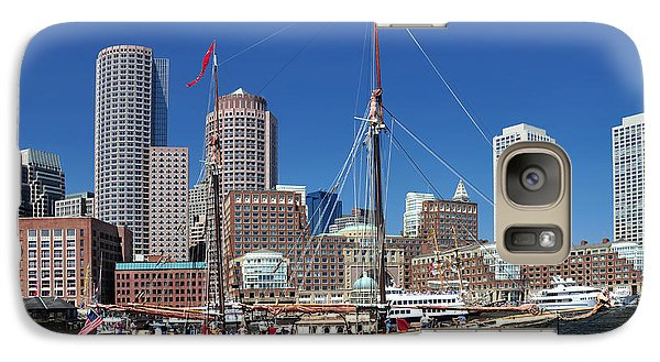 Galaxy Case featuring the photograph A Ship In Boston Harbor by Mitchell Grosky