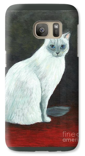 Galaxy Case featuring the painting A Siamese Cat On Red Mat by Jingfen Hwu