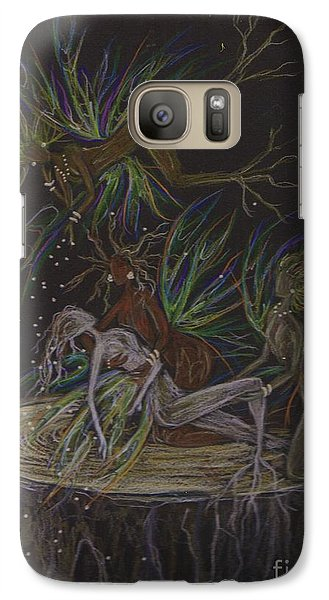 Galaxy Case featuring the drawing A Sister Down by Dawn Fairies