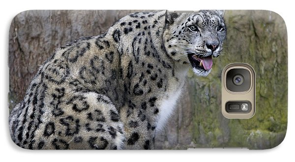 Galaxy Case featuring the photograph A Snow Leopards Tongue by David Millenheft