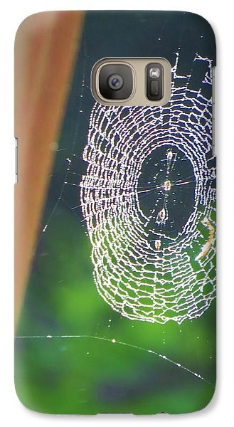 Galaxy Case featuring the photograph A Spider Was Busy by Jeanette Oberholtzer