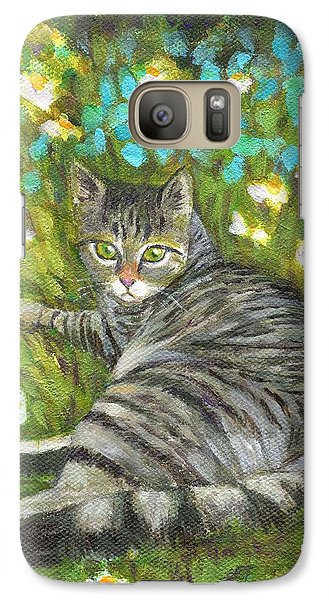 Galaxy Case featuring the painting A Striped Cat On Floral Carpet by Jingfen Hwu