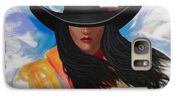 Galaxy Case featuring the painting A Stroke Of Cowgirl by Lance Headlee