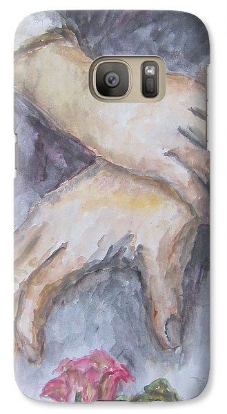 Galaxy Case featuring the painting A Study Of Hands With A Rose by Cheryl Pettigrew