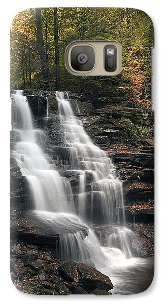 Galaxy Case featuring the photograph A Touch Of Autumn At Erie Falls by Gene Walls
