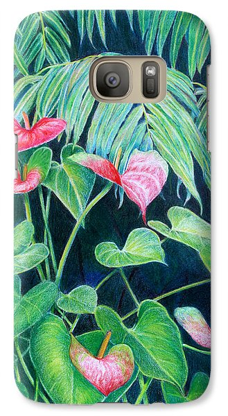 Galaxy Case featuring the painting A Touch Of Red by Mariarosa Rockefeller