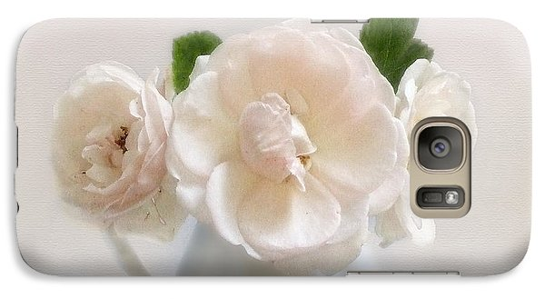 Galaxy Case featuring the photograph A Trio Of Pale Pink Vintage Roses by Louise Kumpf