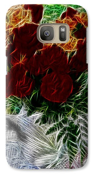 Galaxy Case featuring the photograph A Vase Of Standing Roses by Mario Carini