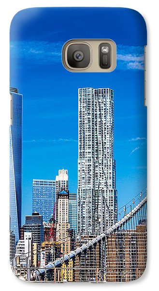 Galaxy Case featuring the photograph A View From The Brooklyn Bridge by Rafael Quirindongo