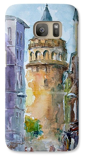 Galaxy Case featuring the painting A Walk Around Galata Tower - Istanbul by Faruk Koksal