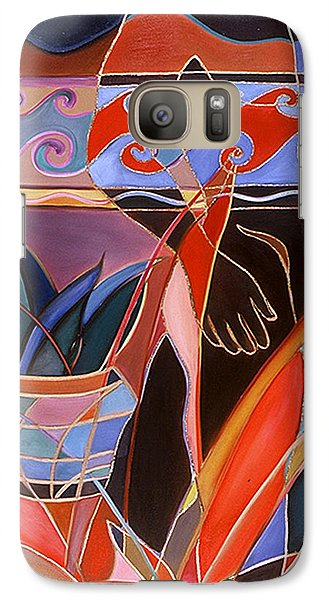 Galaxy Case featuring the painting A Walk In The Garden by Carolyn Goodridge