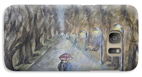 Galaxy Case featuring the painting A Wet Evening Stroll by Kelly Mills