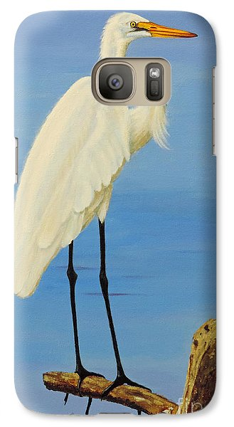 Galaxy Case featuring the painting A White Egret by Jimmie Bartlett